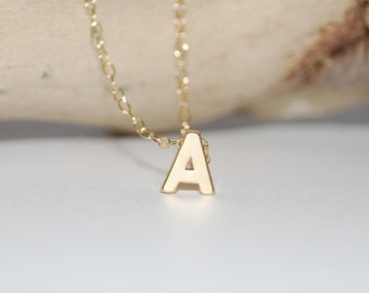 Initial necklace, tiny letter necklace, gold letter necklace, dainty jewelry, gold initial necklace, Mommy necklace