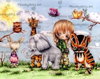 INSTANT DOWNLOAD Digital Digi Stamps..by Chrishanthi's art Jungle friends''