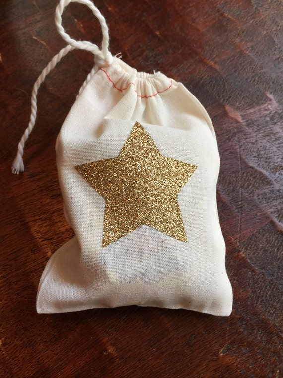 Muslin drawstring bag. Gold glitter star favor bags. Shower favors ...