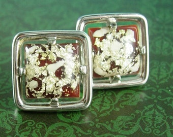 CHUNKY Vintage Marble Cufflinks Hicock Brown Confetti Gent Jewelry cuff links