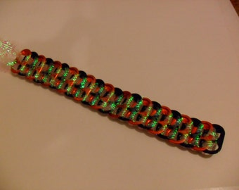 Upcycled Kick Start Soda Can Tab & Glitter Ribbon Halloween Bracelet! Beautiful ONE OF A KIND!