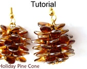 Beading Tutorial Instructions Earrings Necklace - Beaded Pine Cone with Pips - Simple Bead Patterns - Holiday Pine Cones #10290