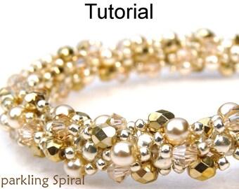 Beading Tutorial Pattern Bracelet Necklace - Double Spiral Stitch - Simple Bead Patterns - Sparkling Spiral #424