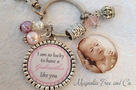 GODMOTHER Personalized Gift for Godparents, Christening gift, Baptismal Gift, Godparents, Jewelry, Keychain, Necklace, I am so lucky