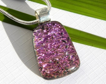 Pink Dichroic Glass Pendant - Fused Glass Necklace - Vibrant Pink Glass Jewelry
