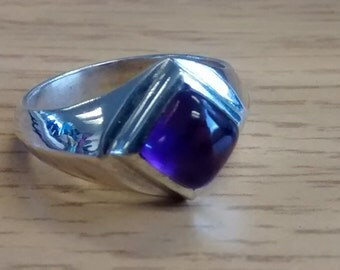 Vintage Diamond/Square-Shaped Amethyst Silver Ring - Size R-S (8 3/4 - 9 1/2)
