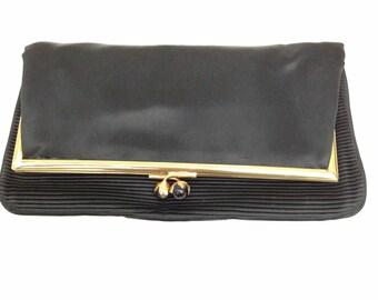 VINTAGE Fassbender Black Satin Clutch Bag