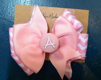 Pink Chevron Monogram Girls Hair Bow