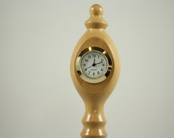Cute Little Desk Clock Hand Turned in Sycamore