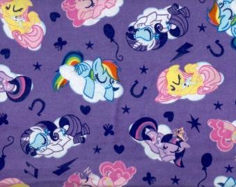 My LIttle Pony flannel fabric - purple - ponies sleeping on clouds  - LAST YARD