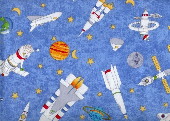 Blast off spacecraft fabric blue space with rockets for Space mission fabric