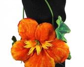 Flower Bag Felted Bag Nasturtium Purse Nunofelt Flower handbag wild Felt Nuno felt tangerine fairy floral fantasy shoulder bag Fiber Art