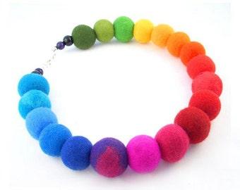 Felted Necklace Felt collar Rainbow Collar felt rainbow necklace silk fairy floral Fiber Art boho