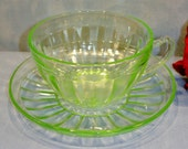 Pillar Optic by Anchor Hocking Green Depression Glass Cup and Saucer