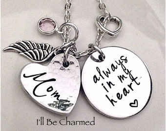 Memory Jewelry, always in my heart, Hand Stamped, Personalized Jewelry, Birthstone, Angel Wing, Baby Loss Jewelry, Family Remembrance