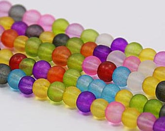 Frosted Glass Beads Round, Mixed Color, 10mm,about 43pcs 16 1nch z400