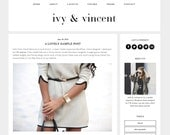 "Wordpress Theme Premade Blog Template Design - ""Ivy & Vincent"" Instant Digital Download"