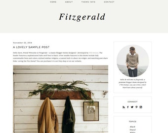 "Blogger Template Premade Blog Design - ""Fitzgerald"" Blogger Theme Black and White"