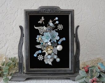 Framed Jewelry Picture  , Jewelry Home Decor , OOAK Keepsake Gift , Vintage Jewelry Flower Bouquet Collage Art by VintageRedo