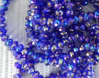 Royal Blue AB Chinese Crystal Rondelle - Fire Polished Chinese Crystal Glass Beads - 8x5mm - 36 beads - 1000