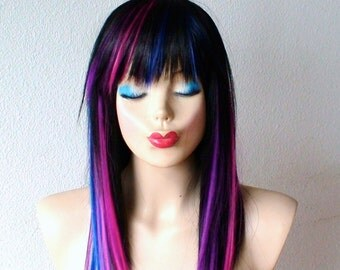 Black/ pink purple blue wig. Straight black hair with color under wig. Durable heat resistant synthetic wig for daily use or Cosplay.