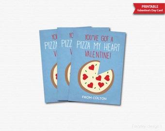 You've Got A Pizza My Heart Valentines Day Cards Kids Valentines Cards Classroom Cards Printable Boys Pizza Valentines Pizza Valentine Card