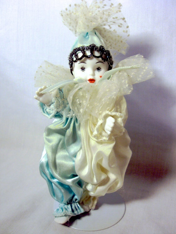 Harlequin Clown Doll with Stand Baby Blue and by ...