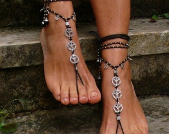 Black and Silver peace barefoot sandals foot jewelry hippie sandals toe ring anklet crochet barefoot tribal sandals yoga