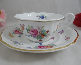 "Vintage Spode Copeland  ""Dresden Rose"" English Bone China Teacup English Teacup and Saucer English Tea cup"