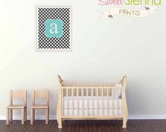"""Personalized Nursery decor, baby nursery art. Monogram Nursery print, Ginham Monogram, 8x10"""" PDF"""
