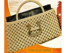 Digital Download 70's Macrame Purse & Mini Version Pattern - Vintage Hippie Macame Handbag PDF Pattern File Macame Pattern Craft Supplies