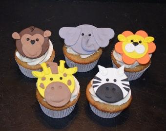 Jungle Animal Fondant Cupcake Toppers - 10