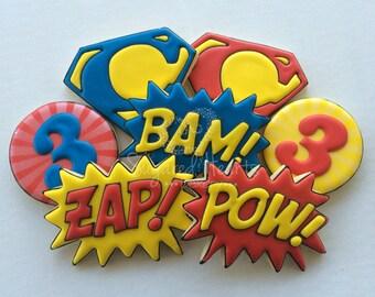 Superhero Birthday Cookies - Pow Bam Zap Pop Art - 1 Dozen