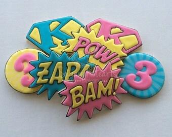 Superhero Supergirl Birthday Cookies - Pow Bam Zap Pop Art - 1 Dozen