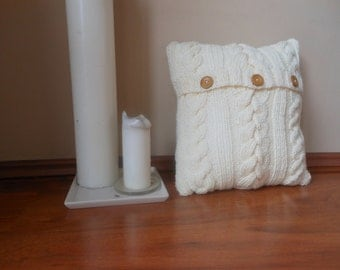 Cable Knit Pillow Cover Pillow Cream Pillow Decorative Knit Pillow Handmade Home Decor 16x16