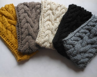 Cable Hand Knit Headband  Ear Warmer Head Warmer Choose Color