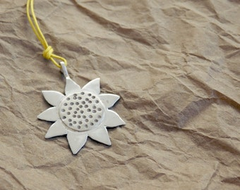 Sunflower Engraved Sterling Silver Pendant on Yellow Waxed Cord