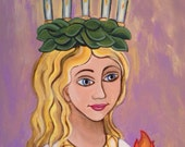 Saint Lucy / Santa Lucia / Catholic Saint Icon Acrylic Painting