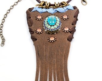 Long necklace with leather pendant in brown, turquoise and blue, with fringe and Swarovski, western, bohemian style, handmade jewelry