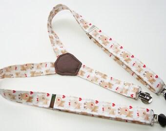 Suspenders - White with Reindeer Adjustable Suspenders