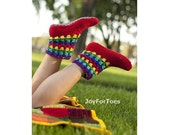 Crochet Boots Women Slippers for the home Joy Rainbow Crocheted Slippers