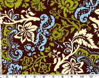 1 Yard, Blue, Green and Cream Floral on Brown Brother Sister Studio B27-SL-P24