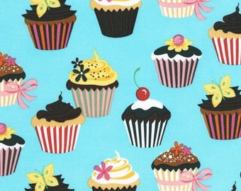 1 Yard, Robert Kauffman Sweet Tooth Cupcakes on Blue 6828