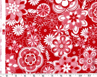 1 Yard 30 in, White Flowers on Red