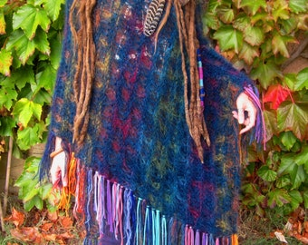 rainbow fringe  festival poncho, blue, hand knitted