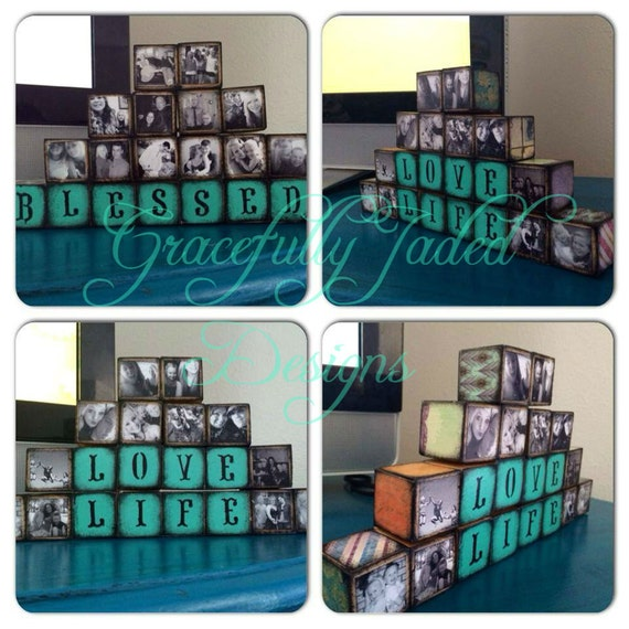 Photo Blocks, Wooden Photo Blocks, Custom Wedding Gift, Wedding Decor, Wedding Photo Display, Christmas Gift