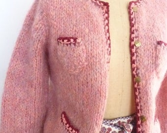 Vintage Mohair Sweater Hand Knit Pink Cardigan With Decorative Pockets Size Small 1980's