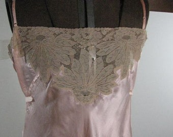 1930s Step In Peach Silk Lace Teddy........size Large