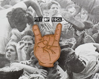 FIST OF ROCK! Devil horns jewelry, metal hand for fans of metal music and rock music ~ lasercut brooch -  for metalheads and rockers