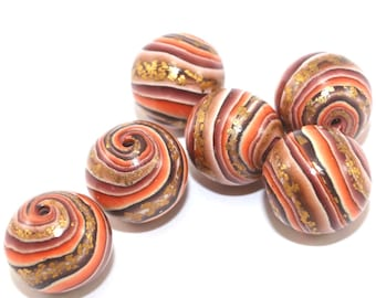 Ombre beads for Jewelry making, elegant round stripes beads, Polymer Clay beads in brown, bronze, gold and orange, Set of 6 unique beads